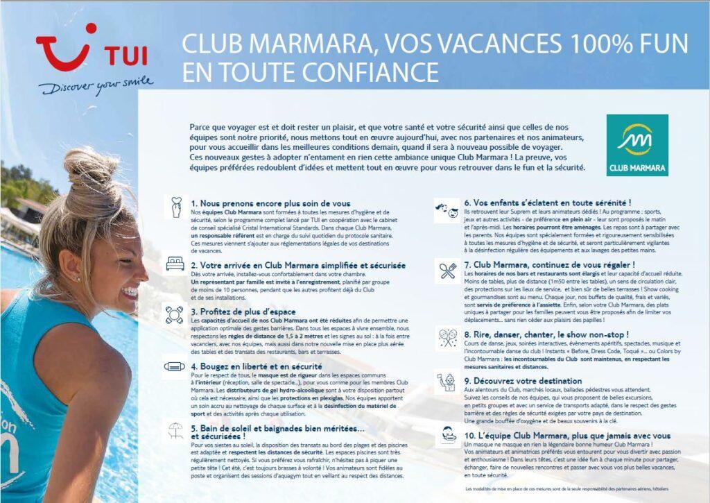 Club Marmara Covid 19 Mesures sanitaires